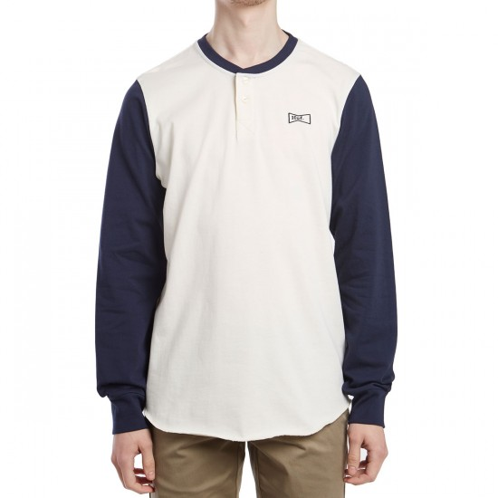 Huf Clubber Henley Shirt - Navy/Off White