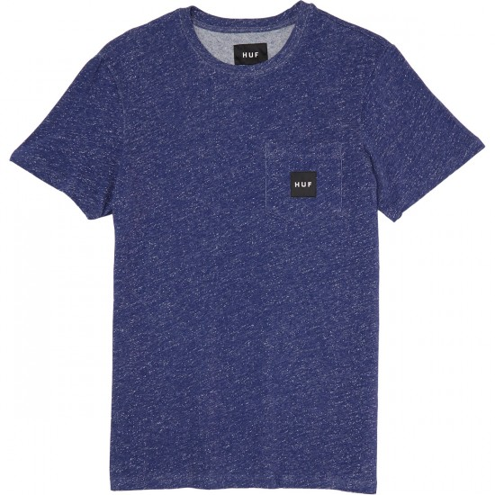 Huf Heather Box Logo Pocket T-Shirt - Navy
