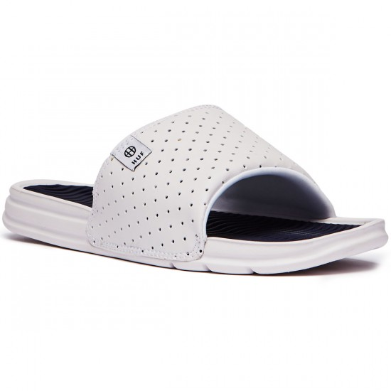 HUF Slide Shoes - White/Navy - 8.0