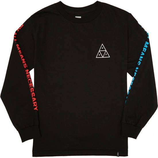 Huf Multi Triple Triangle Longsleeve T-Shirt - Black