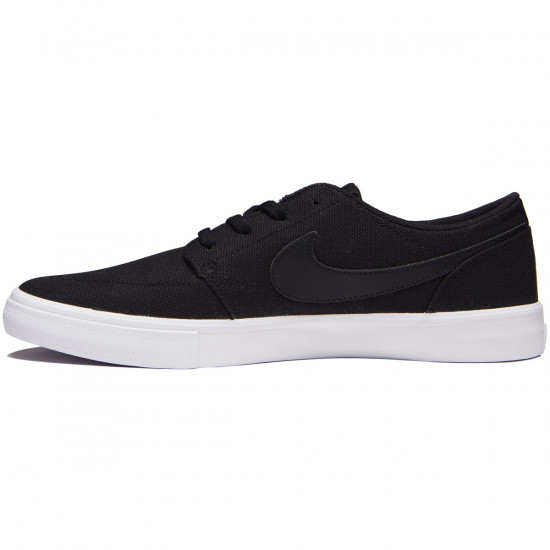 Nike SB Solarsoft Portmore II Shoes - Black/Black/White - 6