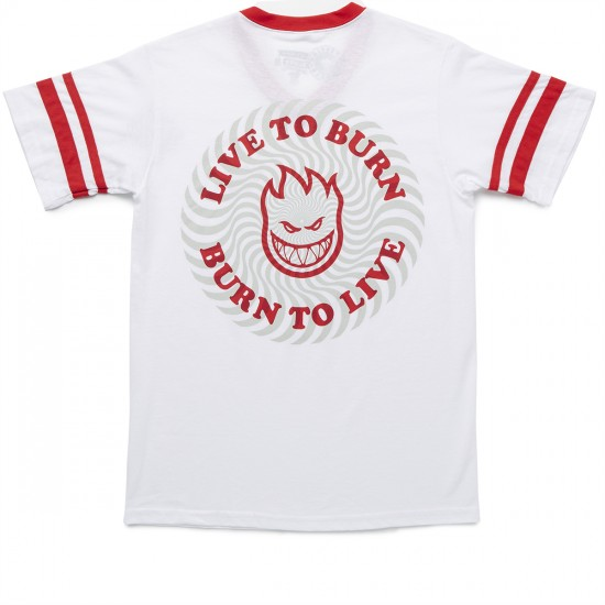 Spitfire Live To Burn Swirl T-Shirt - White/Red