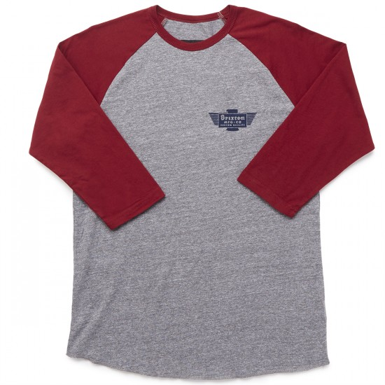 Brixton Cylinder 3/4 Sleeve T-Shirt - Heather Grey/Burgundy