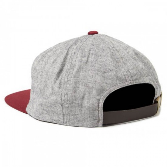 Brixton Oath 7 Panel Hat - Heather Grey/Burgundy