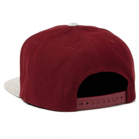Brixton Wheeler Snapback Hat - Burgundy/Light Heather Grey