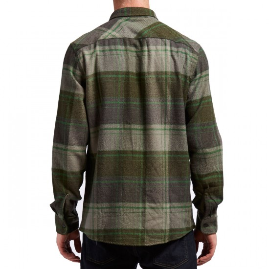 Brixton Bowery Long Sleeve Flannel Shirt - Forest Green