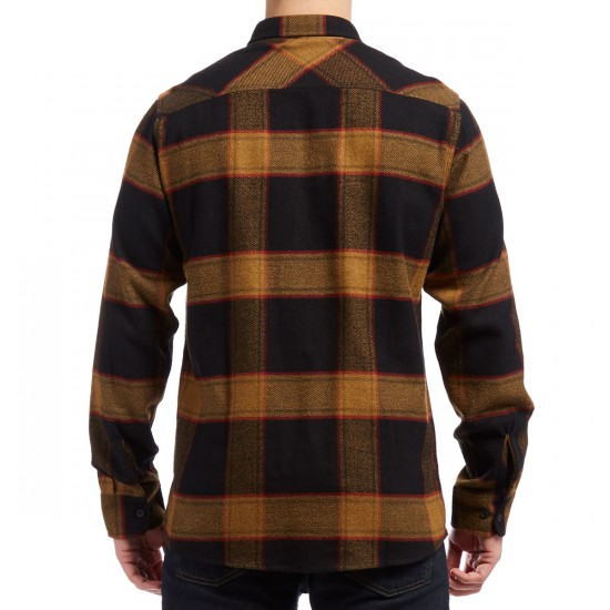 Brixton Bowery Long Sleeve Flannel Shirt - Black/Gold