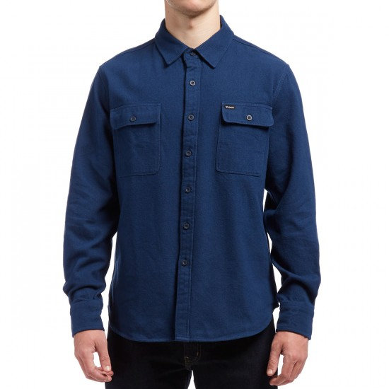 Brixton Donez Long Sleeve Twill Flannel Shirt - Navy