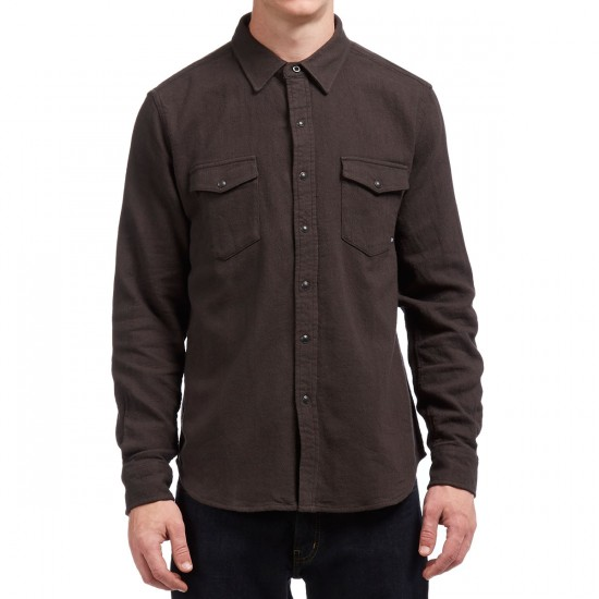 Brixton Pickford Long Sleeve Flannel Shirt - Washed Black
