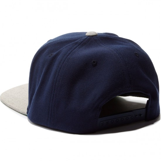 Brixton Wheeler Snapback Hat - Navy/Light Heather Grey