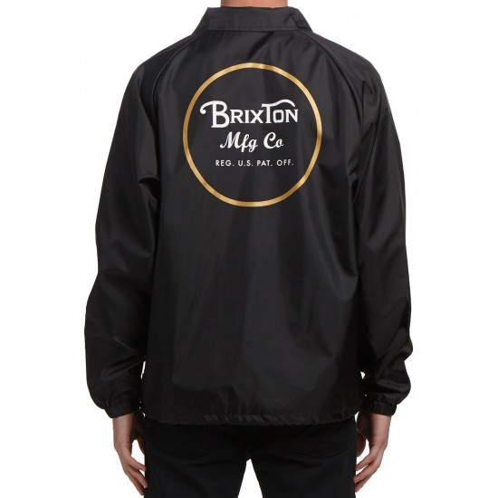 Brixton Wheeler Windbreaker Jacket - Black/Gold