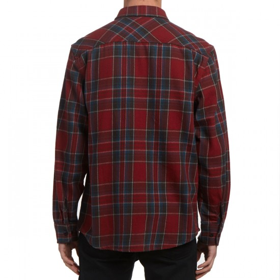 Brixton Bowery Long Sleeve Flannel Shirt - Burgundy