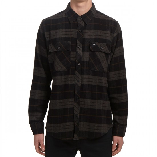 Brixton Bowery Long Sleeve Flannel Shirt - Black/Charcoal