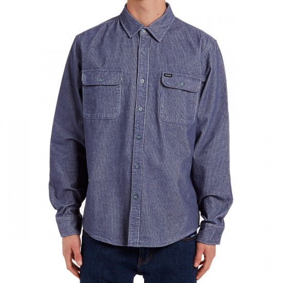 Brixton Donez Long Sleeve Flannel Shirt - Light Blue
