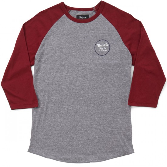 Brixton Wheeler 3/4 Sleeve T-Shirt - Light Heather Grey Burgundy