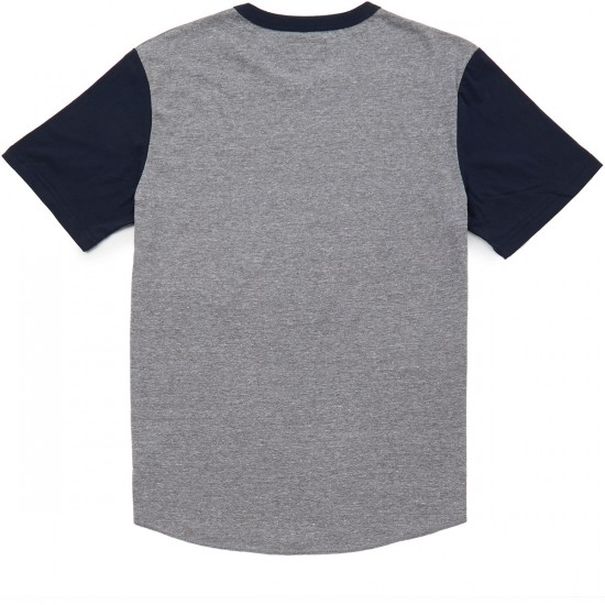 Brixton Reggie T-Shirt - Heather Grey/Navy