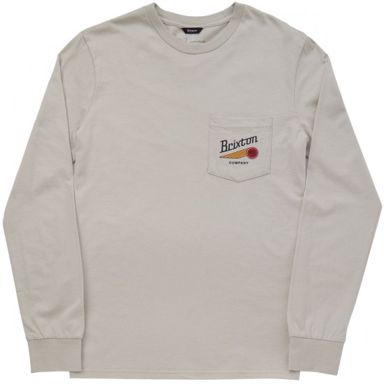 Brixton Maverick Long Sleeve Pocket T-Shirt - Stone