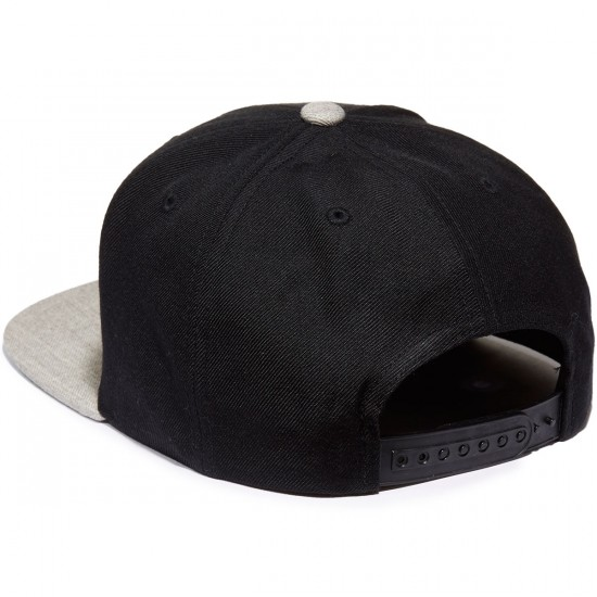 Brixton Wheeler Snapback Hat - Black/Light Heather Grey