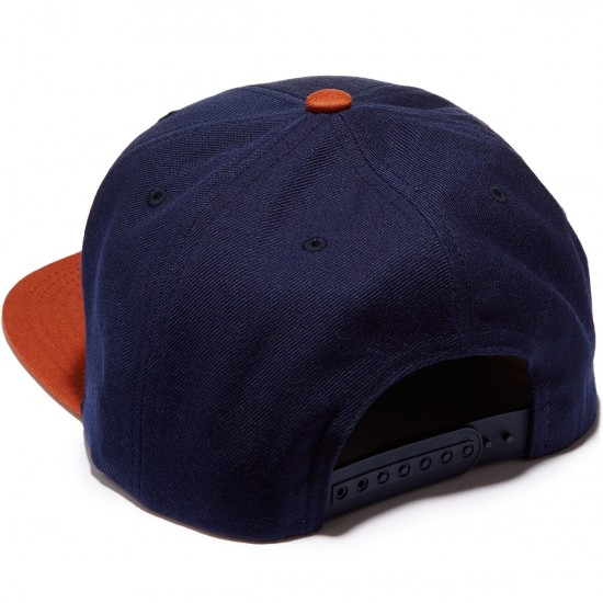 Brixton Wheeler Snapback Hat - Navy/Orange