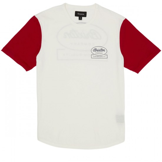 Brixton Dale T-Shirt - Off White/Red