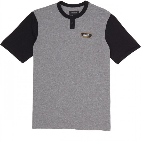 Brixton Normandie Shirt - Heather Grey/Black