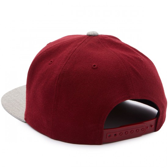 Brixton Wheeler Snapback Hat - Burgundy/Heather Grey