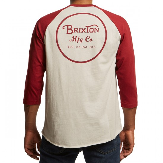 Brixton Wheeler 3/4 Sleeve Shirt - Stone/Burgundy