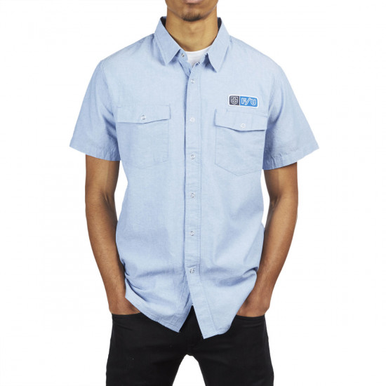 Brixton X Independent Officer Shirt   Light Blue by Ccs