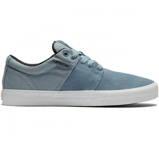 Supra Stacks Vulc II Shoes - Slate Blue Suede/Black Canvas/Light Grey - 8.0