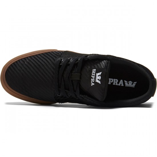 Supra Stacks Vulc II Shoes - Black Woven/Gum - 8.0