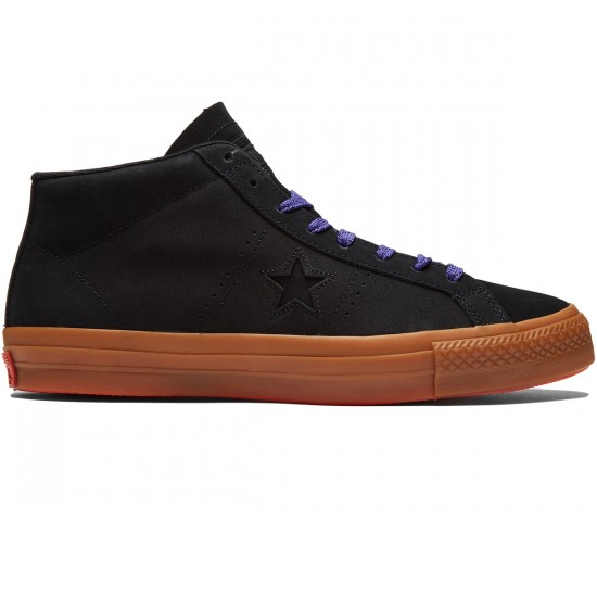 Converse One Star Pro Leather Shoes - Black/Gum/Candy Grape - 8.0