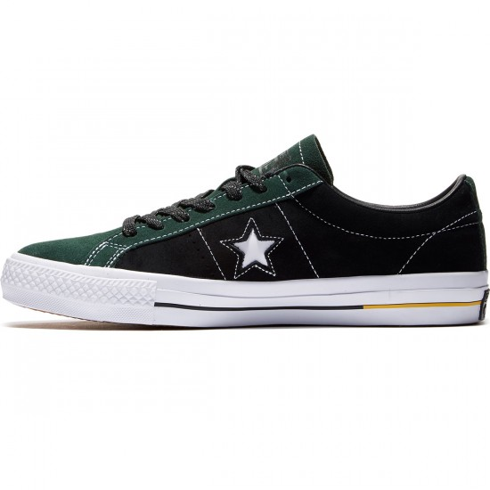 Converse One Star Pro Shoes - Deep Emerald/Black/Yellow - 8.0