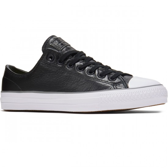 Converse CTAS Pro OX Scratch Leather Shoes - Black/Charcoal/White - 8.0