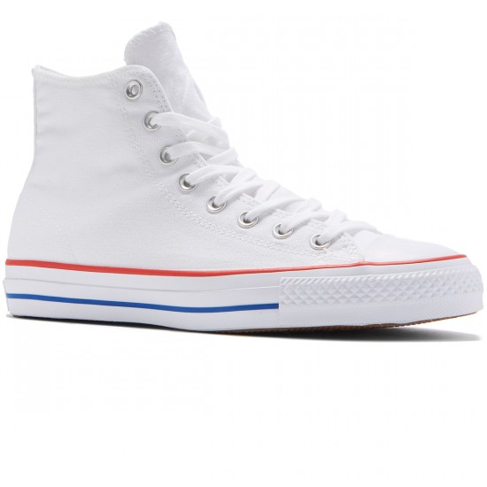 Converse CTAS Pro Hi Shoes - White/Red/Blue - 8.0
