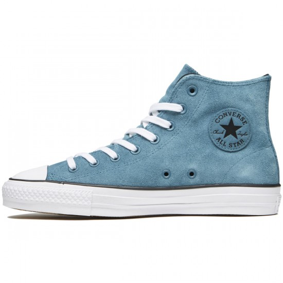 Converse CTAS Pro Hi Shoes - Teal/Black/White Plush Suede - 8.0