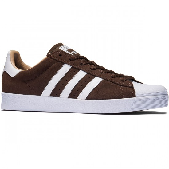 Adidas Superstar Vulc Adv Shoes - Brown/White/Gold Metallic - 8.0