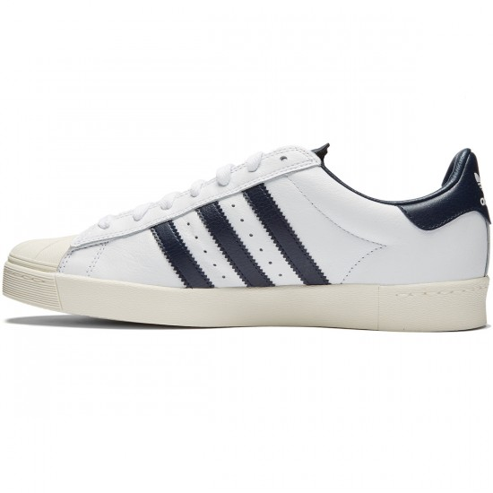 Adidas Superstar Vulc Adv Shoes - White/White/Navy - 8.0