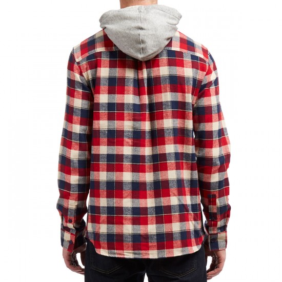 Emerica Cashus Hooded Long Sleeve Flannel Shirt - Red/Navy