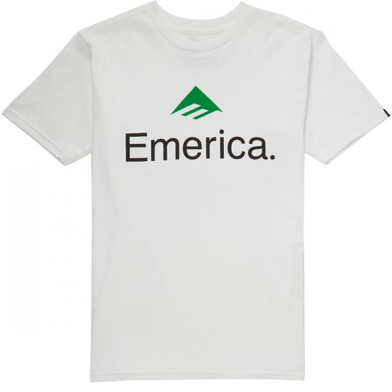 Emerica Skateboard Logo T-Shirt - White/Green