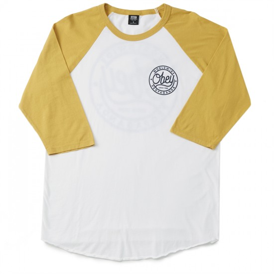 Obey Since 1989 Raglan T-shirt - White/Mustard