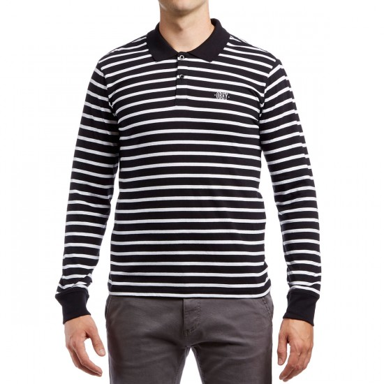 Obey Task Long Sleeve Polo Shirt - Black Multi