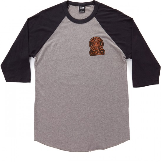 Obey Quality Dissent Raglan T-Shirt - Heather Charcoal/Black