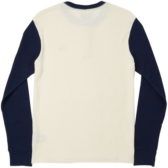 Obey Note Long Sleeve Henley T-Shirt - Oatmeal Multi