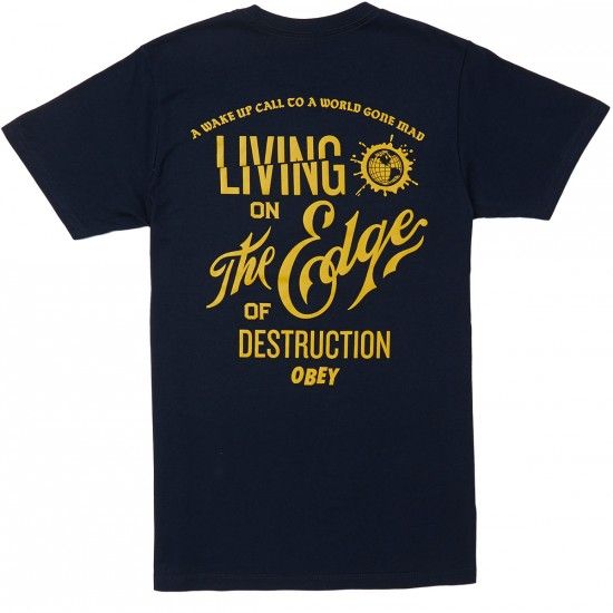 Obey Edge of Destruction T-Shirt - Navy