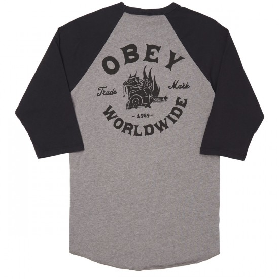 Obey Fresh Off The Press Raglan T-Shirt - Heather Charcoal/Black