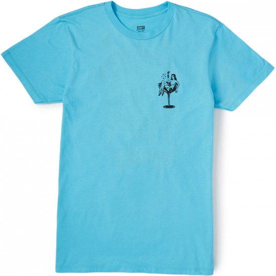 Obey Cocktail Hour T-Shirt - Pacific Blue