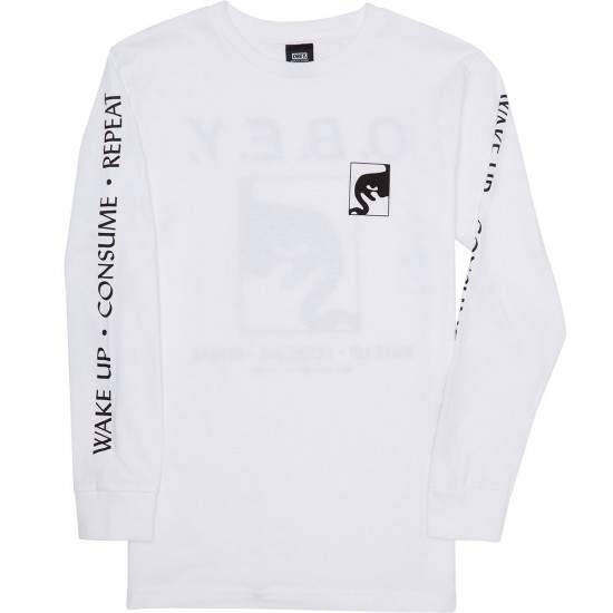 Obey Wake Up Consume Repeat Long Sleeve T-Shirt - White