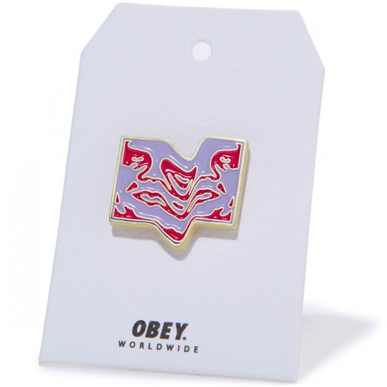 Obey Wavey Icon Pin - Magenta/Purple