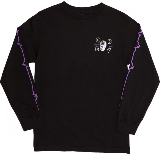 Obey Wave Lengths Long Sleeve T Shirt Black