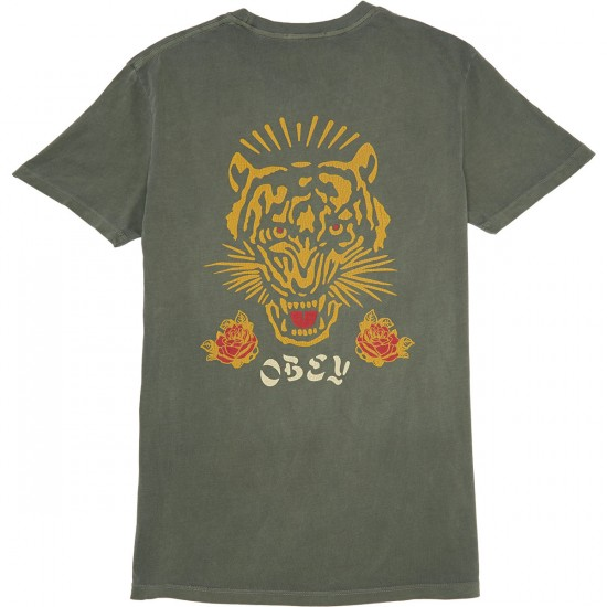 Obey Kiss Me Deadly Tiger Pigment T-Shirt - Dusty Dark Army